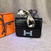 Hermes Constance 23cm Croco Leather Black