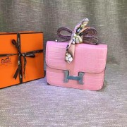 Hermes Constance 23cm Croco Leather Pink