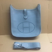 Hermes Evelyne III Togo Leather Crossbody Bag Blue Lin