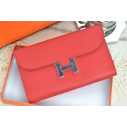 Hermes H Wallet Red Silver