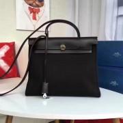Hermes Herbag 31cm Black Canvas Bag
