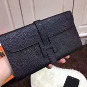 Hermes Jige Wallet Togo Leather Black
