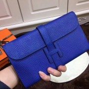 Hermes Jige Wallet Togo Leather Electric Blue