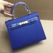 Hermes Kelly 28cm Epsom Leather Handbag Electric Blue Gold