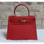 Hermes Kelly 28cm Epsom Leather Handbag Red Gold