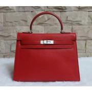 Hermes Kelly 32cm Epsom Leather Handbag Red Silver