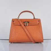 Hermes Kelly 32cm Ostrich Vein 6108 Orange Golden