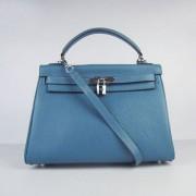 Hermes Kelly 32cm Togo Leather handbag blue/silver