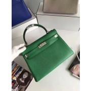 Hermes Kelly 32cm Togo leather handbag green silver