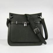 Hermes Jypsiere 28cm Crossbody Bag Black Silver