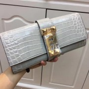 Hermes Medor Clutch 29cm Croco Grey