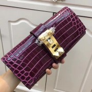 Hermes Medor Clutch 29cm Croco Purple