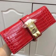 Hermes Medor Clutch 29cm Croco Red