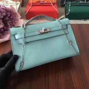 Hermes Mini Kelly 22cm Epsom Leather Blue Silver With Chain Strap