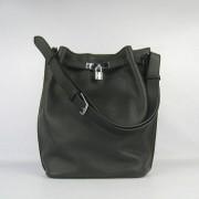 Hermes So Kelly 28cm Togo Leather Shoulder Bag Black Silver