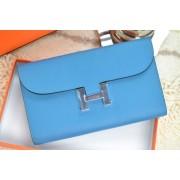 Hermes H Wallet Blue Silver