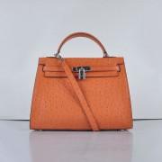 Hermes Kelly 32cm Ostrich Vein 6108 Orange Silver