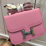 Hermes Constance Bag 23cm Epsom Leather Pink Silver