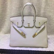 Hermes Birkin 35cm Togo leather Handbag light grey gold