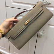 Hermes Kelly Cut 31cm Epsom Leather Clutch Elephant Grey