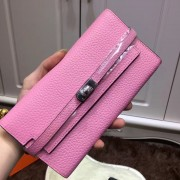 Hermes Kelly Wallet Togo Leather Pink