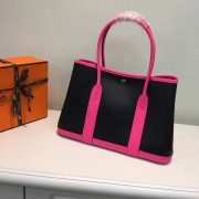Hermes Garden Party 36cm Leather Handbag Black Hot Pink