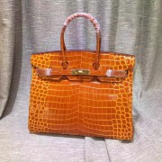 Hermes Birkin 35cm Handbag Crocodile Leather Orange Gold