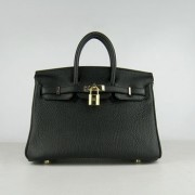 Hermes Birkin 25cm Handbag 6068 black golden