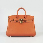 Hermes Birkin 25cm Handbag 6068 orange golden