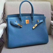 Hermes Birkin 35cm cattle skin vein Handbags blue gold