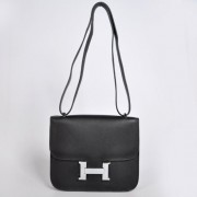 Hermes Constance Bag 23cm Togo Leather Black Silver