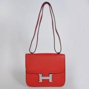 Hermes Constance Bag 23cm Togo Leather Red Silver