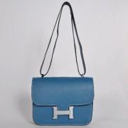 Hermes Constance Bag 23cm Togo Leather Blue Silver