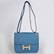Hermes Constance Bag 23cm Togo Leather Blue Gold