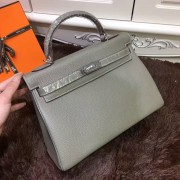 Hermes Kelly 32cm Togo leather handbag elephant grey silver