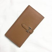Hermes calf leather Wallet H005 light coffee