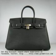 Hermes Birkin 35cm cattle skin vein Handbags black golden