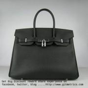 Hermes Birkin 35cm cattle skin vein Handbags black silver