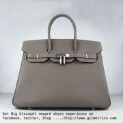 Hermes Birkin 35cm cattle skin vein Handbags dark khaki silver