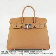 Hermes Birkin 35cm cattle skin vein Handbags light coffee silver