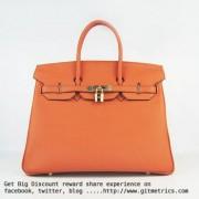 Hermes Birkin 35cm cattle skin vein Handbags orange golden