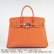Hermes Birkin 35cm cattle skin vein Handbags orange silver