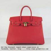 Hermes Birkin 35cm cattle skin vein Handbags red golden