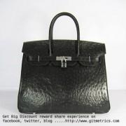 Hermes Birkin 35cm Ostrich Veins Handbags black silver