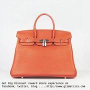 Hermes Birkin 35cm Togo leather Handbags orange silver