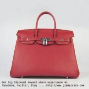 Hermes Birkin 35cm Togo leather Handbags red silver