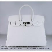 Hermes Birkin 35cm Togo leather Handbags white silver