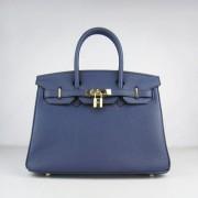 Hermes Birkin 30cm Togo leather Handbags dark blue golden