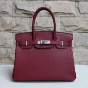 Hermes Birkin 30cm Togo leather Handbag burgundy silver