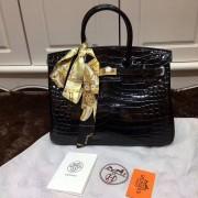 Hermes Birkin 35cm Handbag Crocodile Leather Black Gold